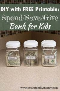 DIY With Free Printable: Spend/Save/Give Bank for Kids