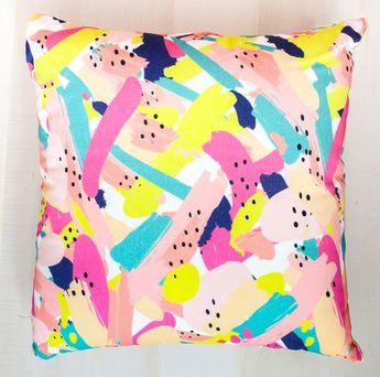 Colorful Brushstroke Throw Pillow