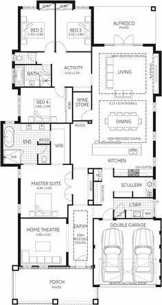Display Homes | Plunkett Homes: master needs a larger dress but kitchen area good. Replace one bedroom with a fitted out study, perhaps with access from the master somehow..?? Winning with a wine store! #winehouse