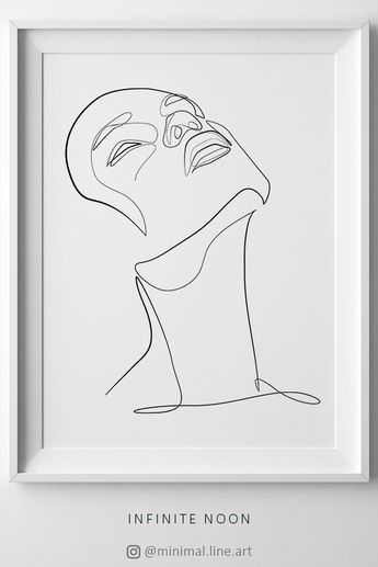 One line drawing. Minimal face drawing illustration. Fashion printable wall art. Minimal black and white abstract décor art. Woman body figure sketch.