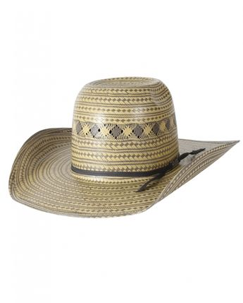 American Hat Co 15☆ Swirl Vented Straw Hat - Black White 51d1eeb18450