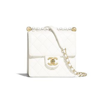 c38b833da Lambskin, Imitation Pearls & Gold-Tone Metal White Flap Bag