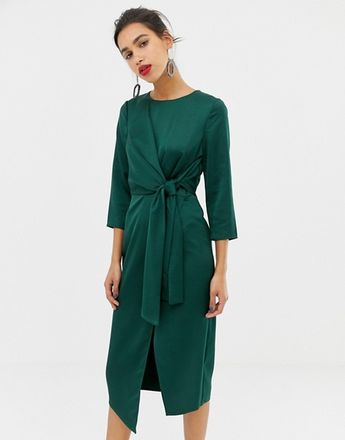 952d7af24fd9 Warehouse satin tie midi dress in emerald