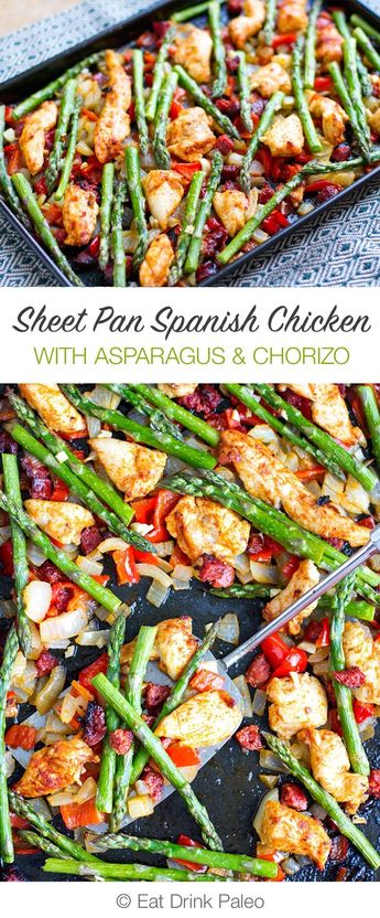 Sheet Pan Roasted Asparagus & Chicken With Chorizo - #Asparagus #Chicken #Chorizo #Pan #Roasted #Sheet