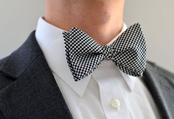 Men's Bow Tie in Black and White Gingham- freestyle wedding groomsmen custom bowtie neck self tie ch