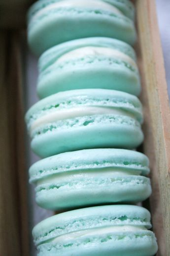 Box of Pastel Blue French Macarons by @andcute