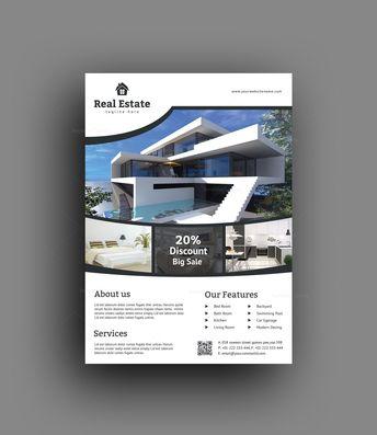Sleek Real Estate Flyer Design Template - Graphic Templates