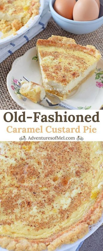 Caramel Custard Pie, made with an easy shortcut pie crust and a brown sugar caramel twist. Delicious dessert and a family favorite recipe!