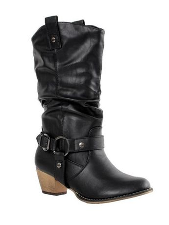 be7763b60b7bd Cowgirl Vintage Leather Mid Calf Boots Buckle Heels Boots