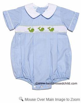 5feb77abc Petit Bebe by Anavini Infant Baby Boys Smocked Preppy Green Whales Poplin  Bubble - BLUE
