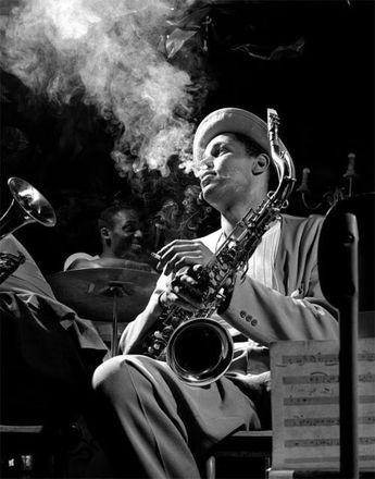 Tenor sax player Dexter Gordon, Royal Roast, NY, 1948