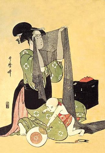 Japanese Mother and Child by Utamaro - Art Print
