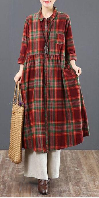 Casual Cotton Linen Plaid Shirt Dresses Women Loose Spring Clothes 6125