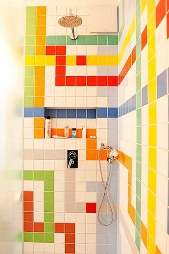 christoph niemann's fab color-tiled bathrooms