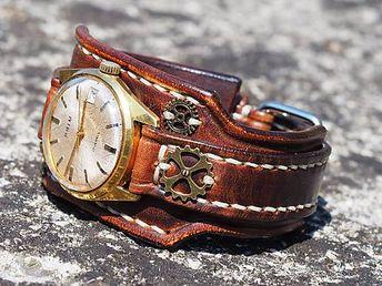 c4efbdff5 Kožený remienok na starožitné hodinky Prim II / leon - SAShE.sk - Handmade  Náramky