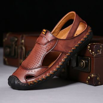 Menico Men Hand Stitching Soft Leather Sandals