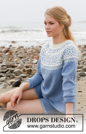 23fc45f0fe3a8 Periwinkle   DROPS 191-1 - Knitted jumper with round yoke