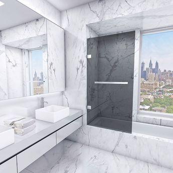 Vigo Rialto Bathtub Door with Sheer Black and