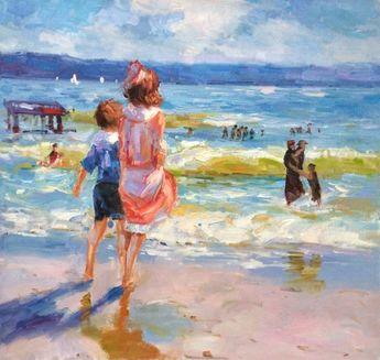 Edward Henry Potthast Reproduction: At the Seashore