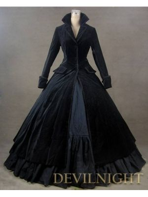 Black Velvet Vintage Winter Outfit Victorian Dress by DevilNight