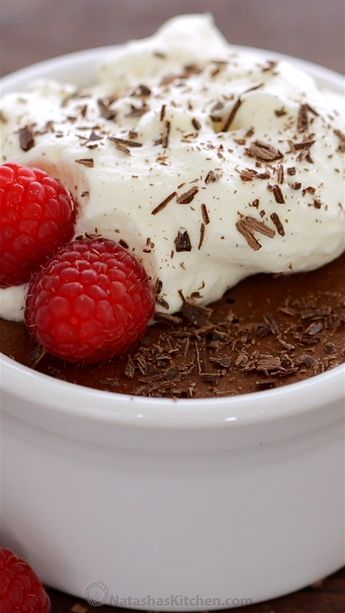 How to make Classic Chocolate Mousse that is decadent, airy and luxuriously chocolatey. Easy, sophisticated chocolate dessert with whipped cream and raspberries. #chocolatemousse #mousse #chocolatedessert #dessert #natashaskitchen #valentinesday #valentinesdaydessert #classicchocolatemousse #frenchchocolatemousse