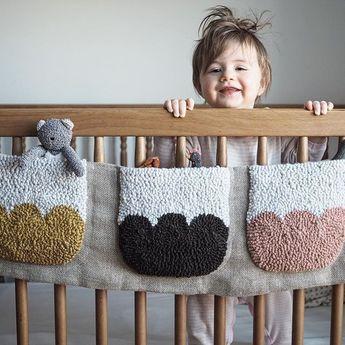 Crib pockets make nap time . . #rughooking #criblife #birthdaygirl #kangaroopockets #punched #naptime #sealharborrugco #fiberart #textiledesign