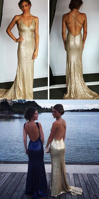 7011b54578e6 Sparkly Champagne Sequins Mermaid Long Prom Dress from wendyhouse