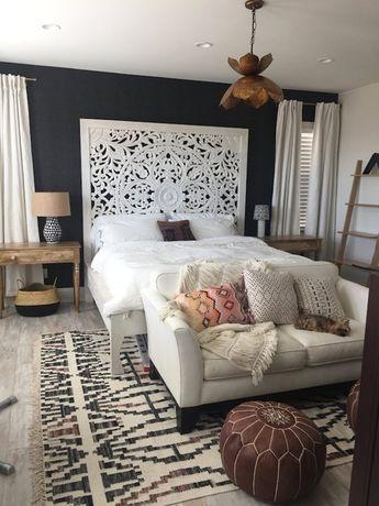 "72"" Large King Size Bed Teak Wood Bohemian Headboard Decorative Lotus Mandala Hand Craved Wooden Pan"