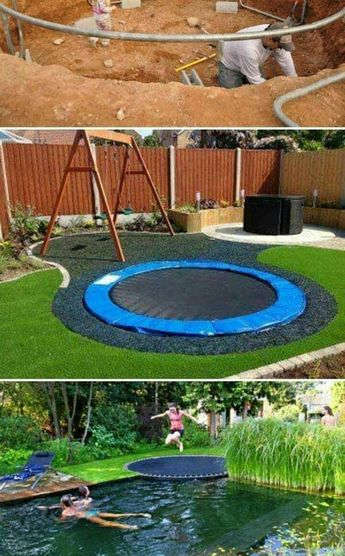 Trampoline next to the pool so you can jump right in - genius!