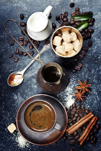 Coffee composition ~ Food & Drink Photos ~ Creative Market