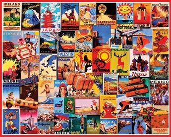 """Travel Dreams by White Mountain Puzzles.  Take an armchair tour around the world with this colorful puzzle by Charlie Girard. Item 898: 1000 piece jigsaw puzzle: Finished size 24"""" x 30""""  $15.95"""