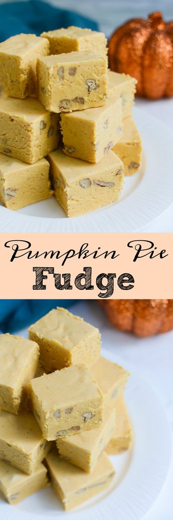 Pumpkin Pie Fudge! The taste of pumpkin pie in an easy to make candy. This fudge is perfect for gifting!