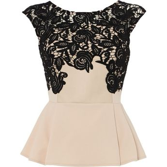 fdd7ef5f2e405 Lipsy Top lace applique peplum top (€63) found on Polyvore featuring tops