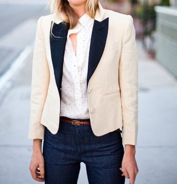 tux jacket cut for a woman - a wardrobe must have.