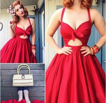 Sexy red prom dress,short prom gown,halter party dress,charming prom dress