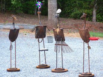 bird yard art...using recyled/ repurposed yard tools
