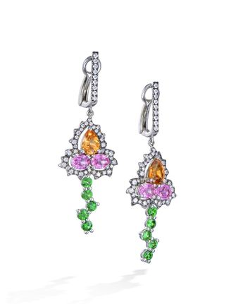 bf2364344 18 karat white gold clip earrings with mandarin garnets (1.95 CTW), pink  sapphires