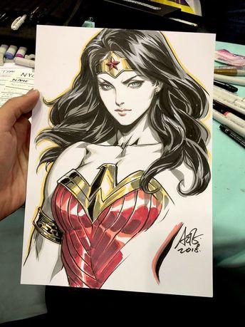 Dessins Artgerm : Wonder Woman Batgirl Spider-Gwen Malicia La Baronne