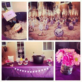 purple fuschia champagne bar bridal shower decor