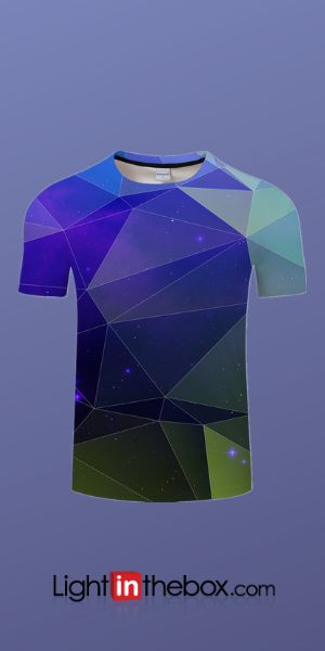 Men's Daily Wear Plus Size T-shirt - Color Block Round Neck Blue XXXXL / Short Sleeve