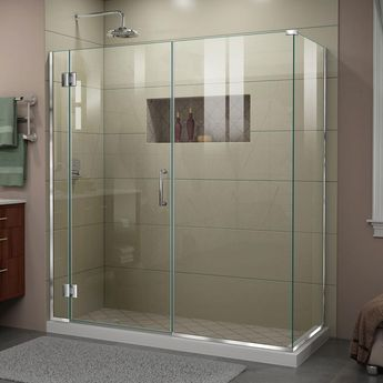DreamLine Unidoor-X 64.5 in. W x 34-3/8 in. D x 72 in. H Frameless Hinged Shower Enclosure in Chrome-E12830534-01