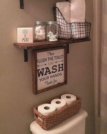 30+ Stunning Rustic Farmhouse Bathroom Design Ideas #bathroomdecor #bathroomstorage #bathroomdesign ~ Home Design Ideas
