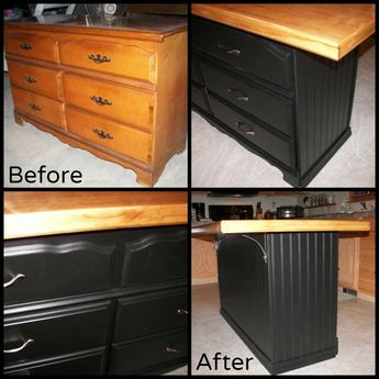 My daughter's old hand-me-down dresser was sitting in the basement collecting dust. I repurposed it into a kitchen island and put it back into service! I was able to match the drawer pulls to the existing kitchen hardware. The top surface was made from a recycled door with trim molding added. We gained 6 more drawers in the kitchen with this project! #diykitchenideas