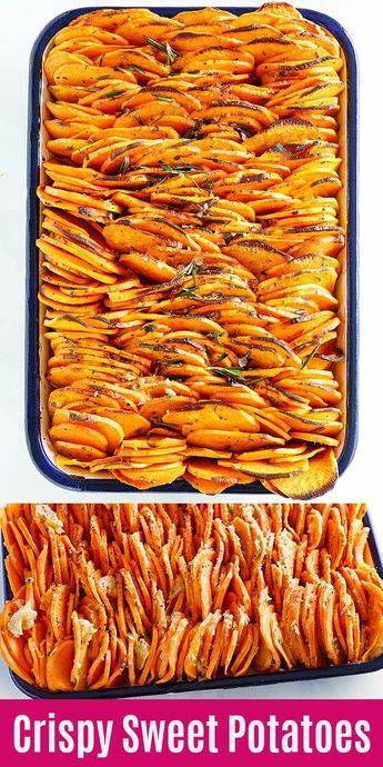 Crispy Baked Sweet Potatoes - the BEST roasted sweet potatoes recipe ever. Thinly sliced and baked to crispy and buttery goodness. So delicious   rasamalaysia.com #thanksgiving #sidedish #sweetpotatoes