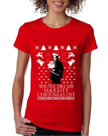 b59f812b0 Women's T Shirt My Naughty Xmas List Arya Stark Ugly Christmas