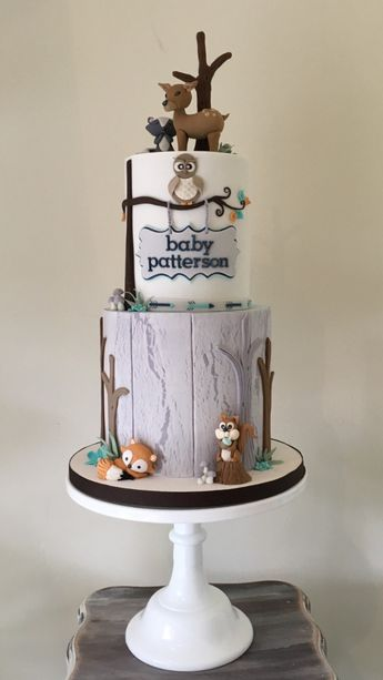 Adorable Woodland Baby Shower Cake