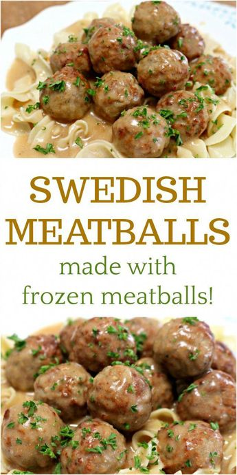 These delicious Swedish Meatballs are sure to become a family favorite meal. They are so easy and made using frozen meatballs and an easy homemade sauce! via @Mom4Real #ad #healthyfrozenmeals