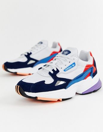 adidas Originals white and navy Falcon trainers