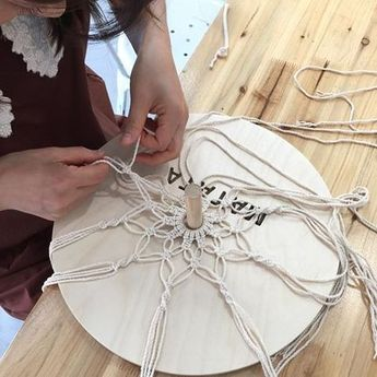 ➰in progress macrame dreamcatcher what a smart way to work on a round macrame project.use a cardboard circle on a