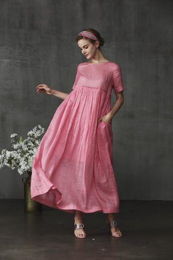 Rouge dress, linen dress in pink, high waist dress, maxi dress, linen maxi dress with pockets. loose fitting dress, linen kaftan